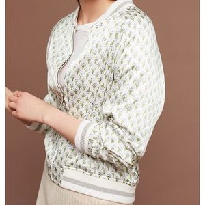 Anthropologie amber embroidered bomber jacket s